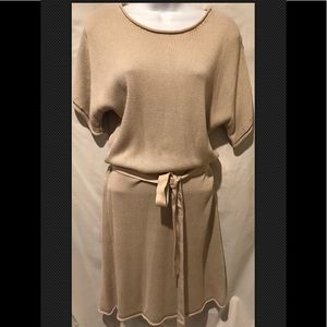 BODEN Tunic Dress Belted Sweater Knit Beige Dolman